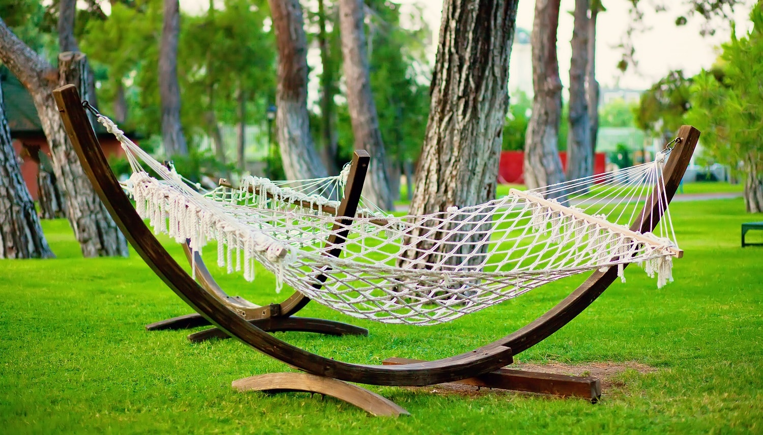 Summer park with hanging hammock for relaxation