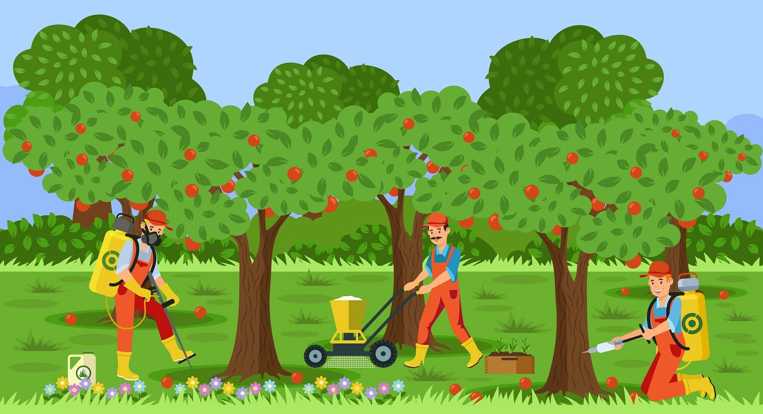Farmers Working in Apple Garden Flat Illustration. Tree Injection Vector Drawing. Man with Fertilizer Spreading Machine. Canister with Herbicide. Fruit Harvest. Cartoon Character in Face Mask