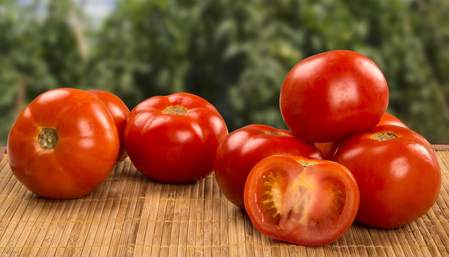 Some tomatoes over a wooden background. Fresh vegetable.