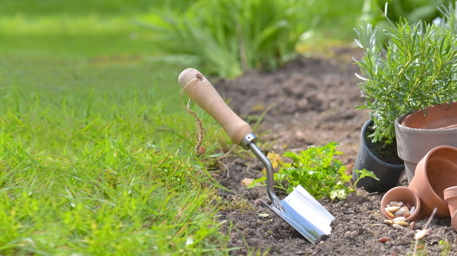 shovel planted in the soil of a garden next to teracotta pots and flowers with copy space in grass background