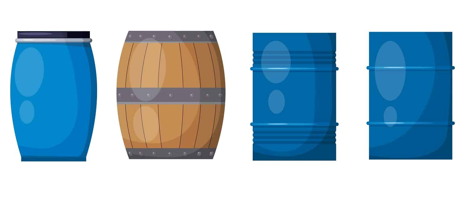 Vector set casks on a white background. Illustration of a wooden and metal blue barrels,<br /> isolate object.