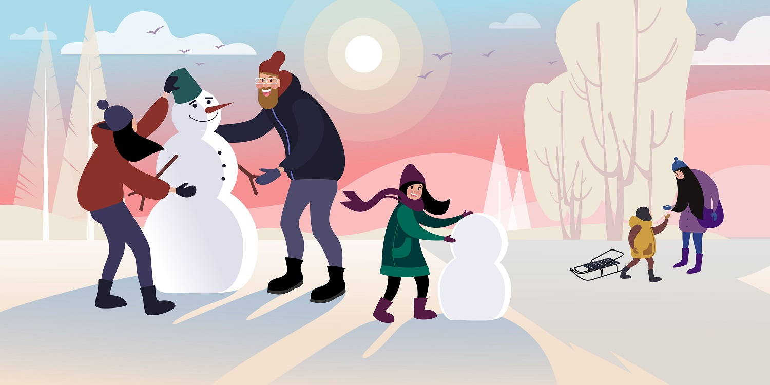 Children with dad make a snowman in a winter city park. Flat vector illustration.