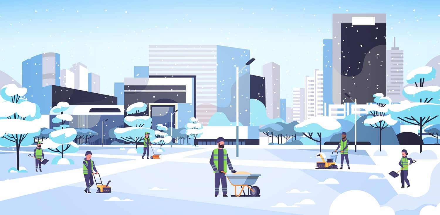 cleaners team using different equipment and tools snow removal concept men women in uniform cleaning winter snowy park cityscape background flat full length horizontal vector illustration