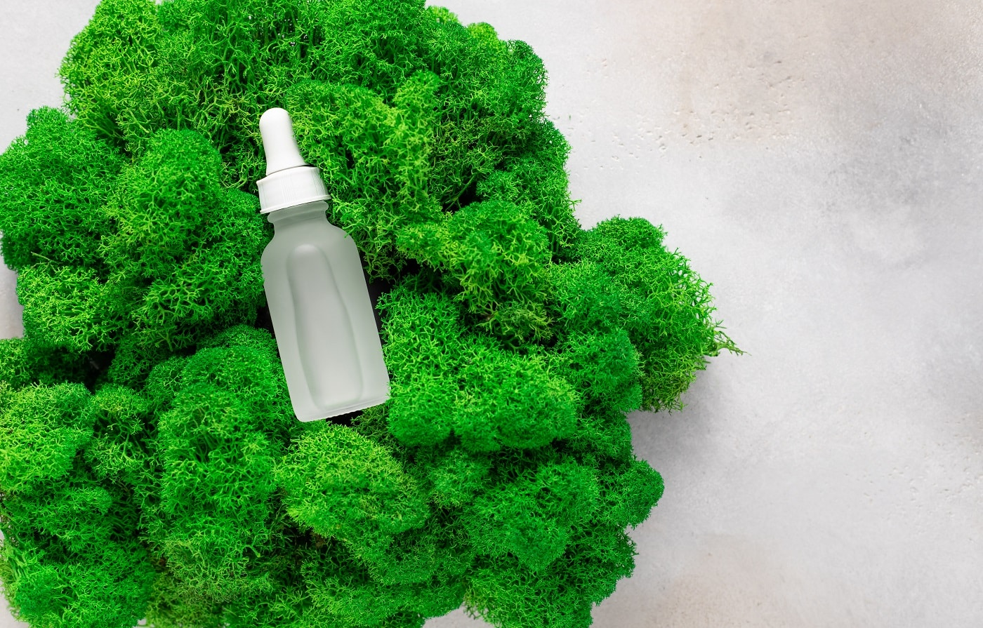 Anti-aging serum in matte bottle on green moss. Beauty and spa treatment concept. flat lay. space for text