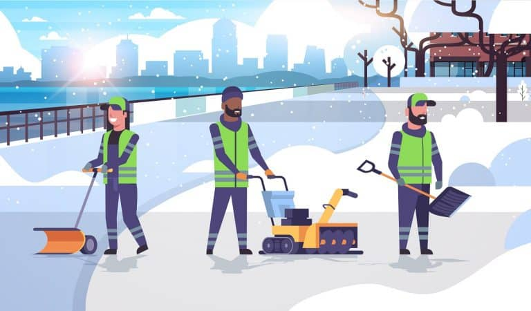 cleaners team using different equipment and tools snow removal concept mix race men women in uniform cleaning urban residential area cityscape background flat full length horizontal vector illustration