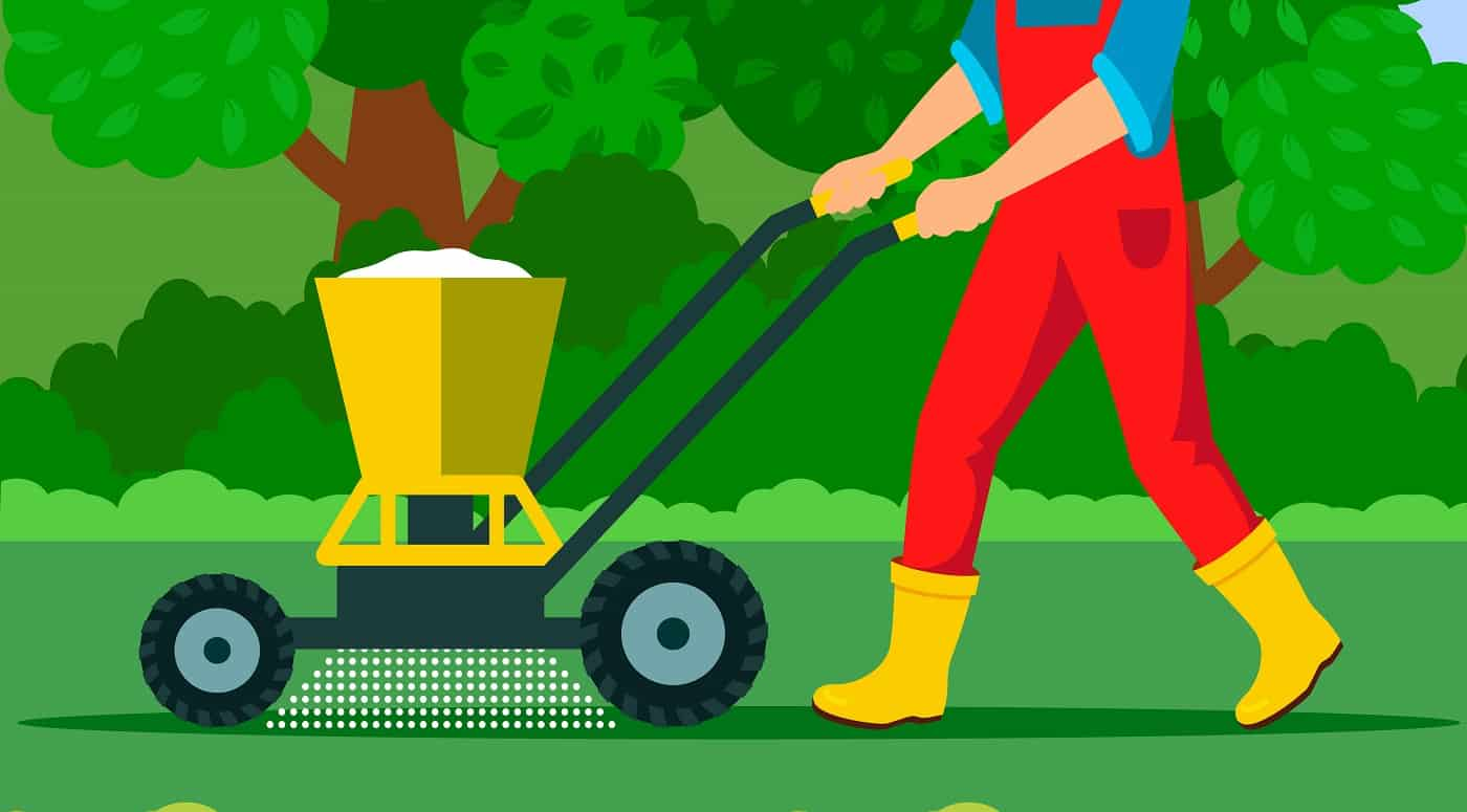 Gardener with Fertilizer Spreader Illustration