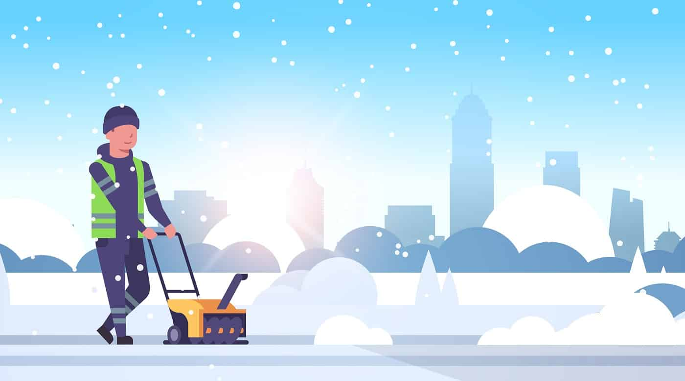 man worker in uniform using snowblower snow removal winter street cleaning service concept cleaner pushing snow thrower modern cityscape sunrise background flat full length vector illustration