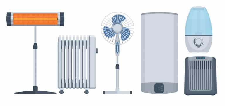 Flat climatic appliances set. Conditioners, heaters & other. Vector illustration. Collection