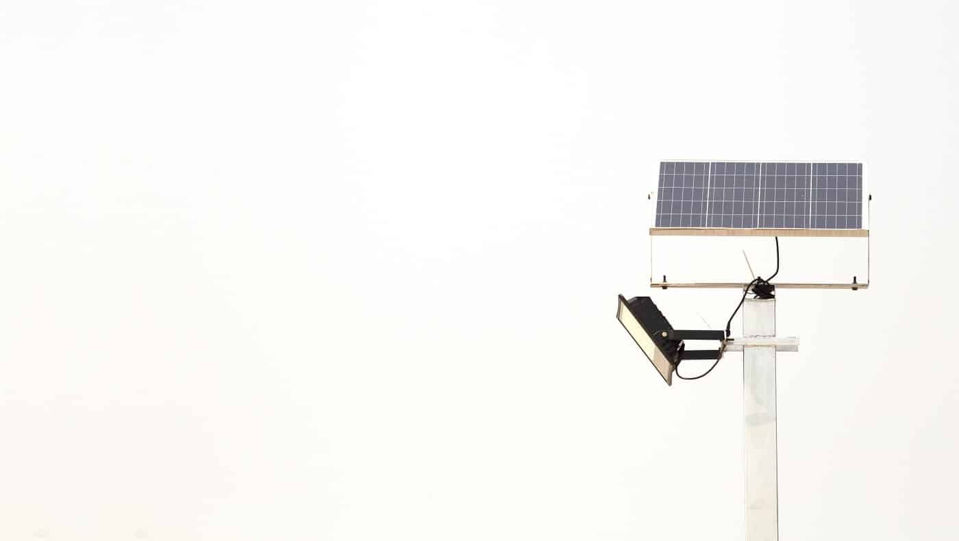 Electric Solar cell pole isolated on white background. Alternative energy.