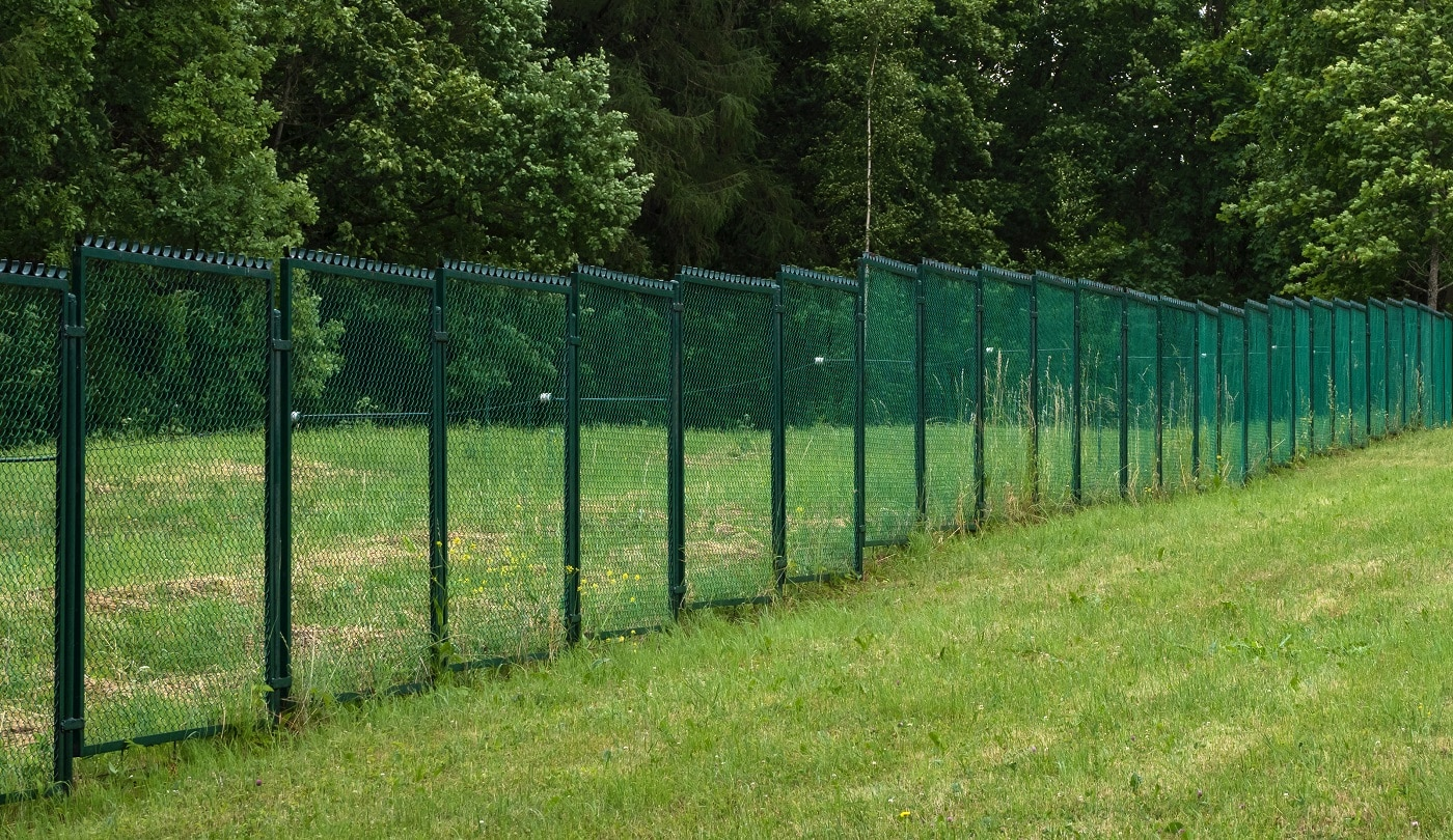 Fences with current on a green field.