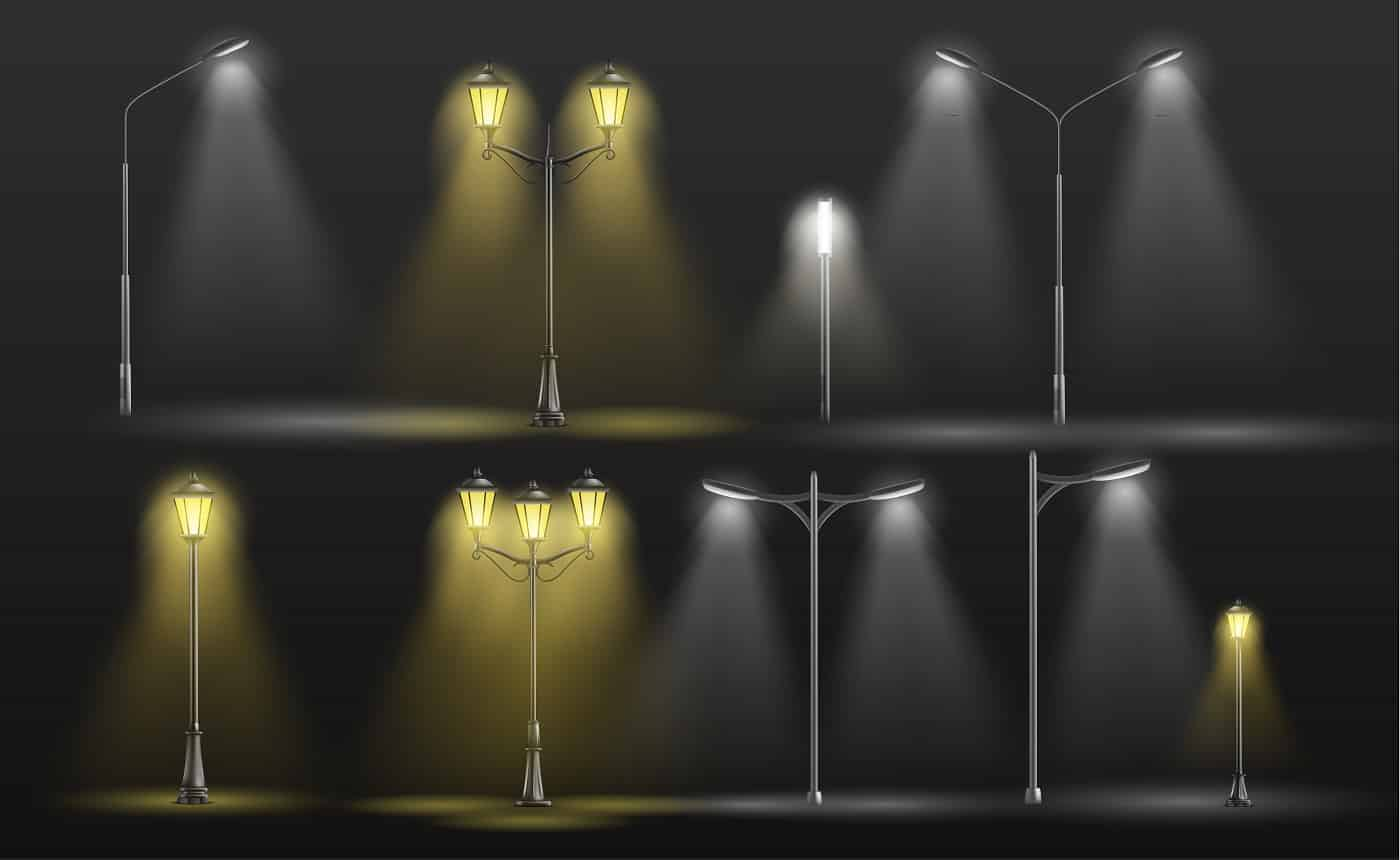 Various city street lights glowing in darkness yellow warm and cold white light 3d realistic vector set with old-fashioned, retro lampposts and modern electrical road lamps illustrations collection