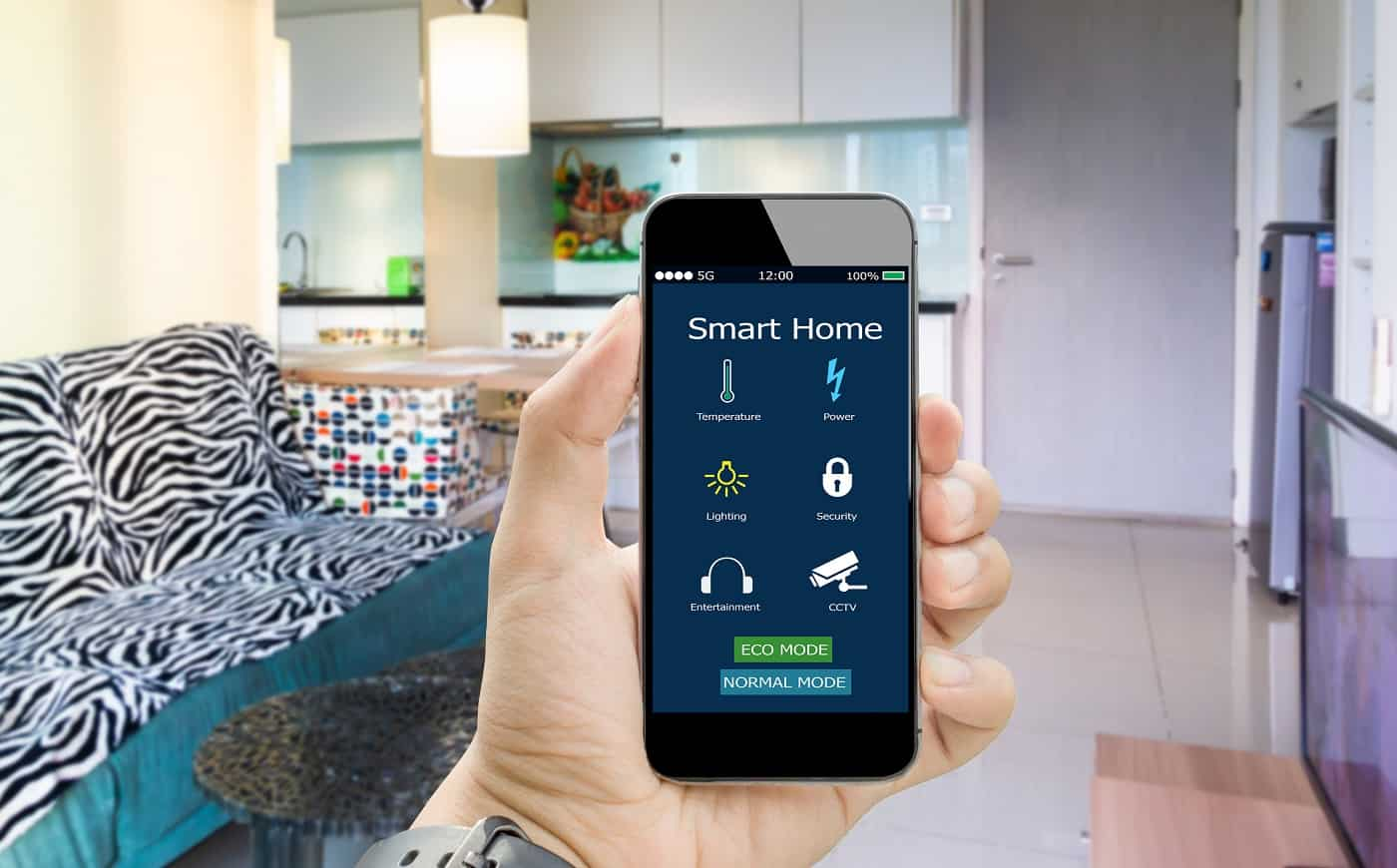 hands holding smart phone with app smart home on blurred bed room as background