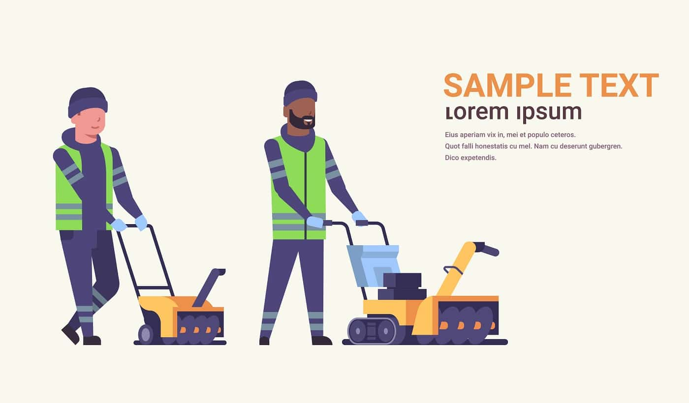 two male workers in uniform using snowblower snow removal winter street cleaning service concept mix race cleaners team pushing snow thrower flat full length horizontal copy space vector illustration
