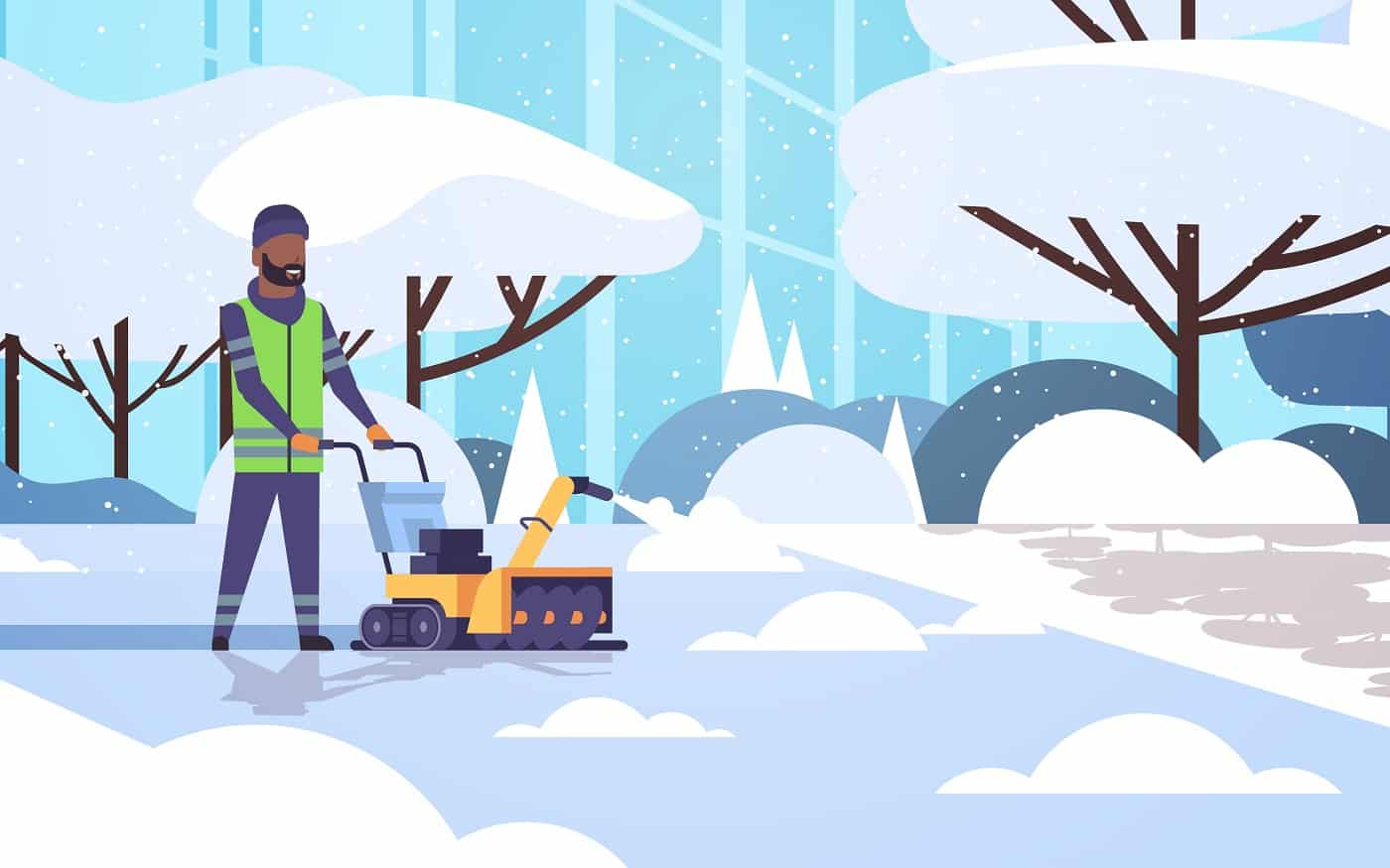 man cleaner in uniform using snowblower snow removal concept african american worker cleaning winter snowy park landscape background flat full length horizontal vector illustration