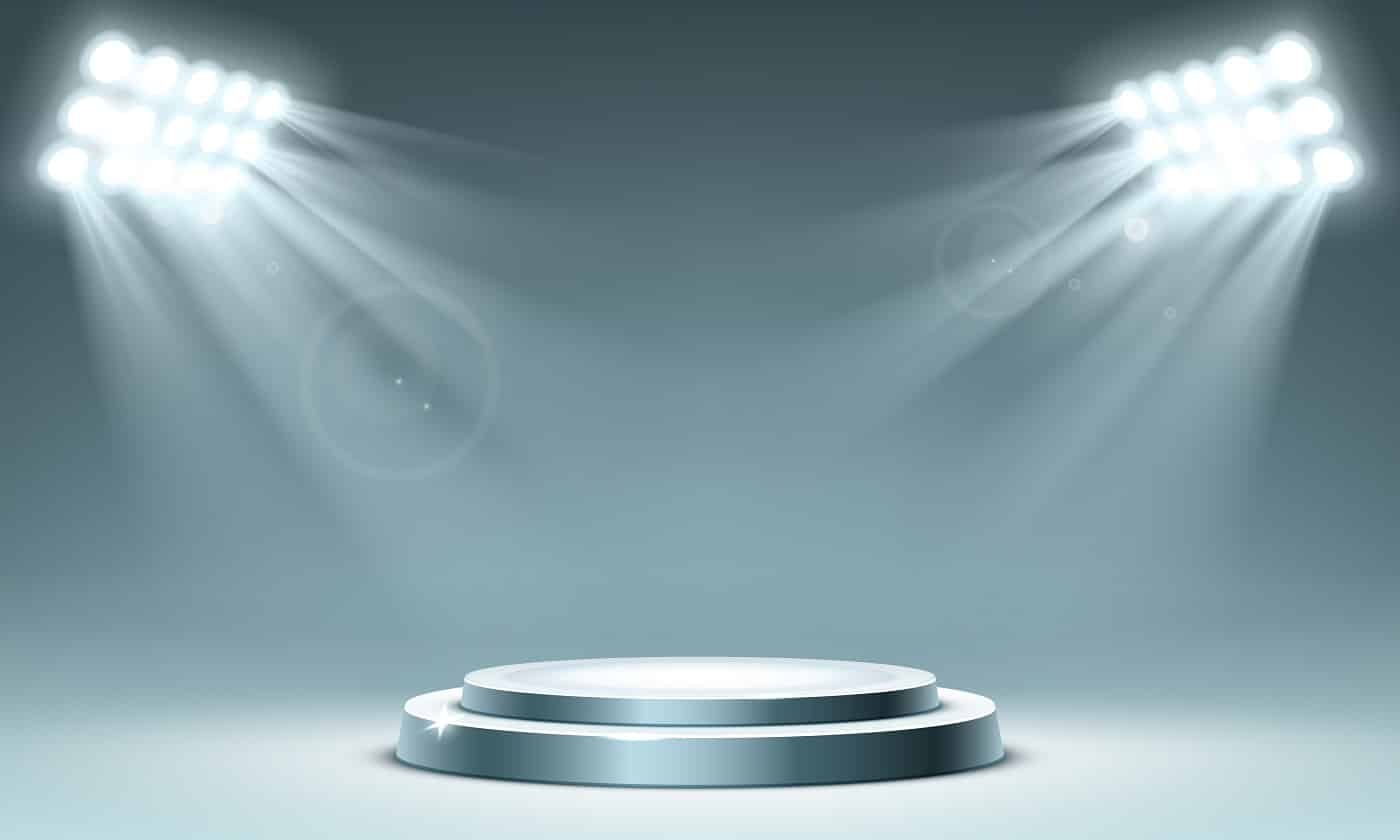 Round podium illuminated by spotlighs. Circular stand for exhibition. Vector realistic mockup of round pedestal for display award or winner, presentation platform in showroom with projector lights