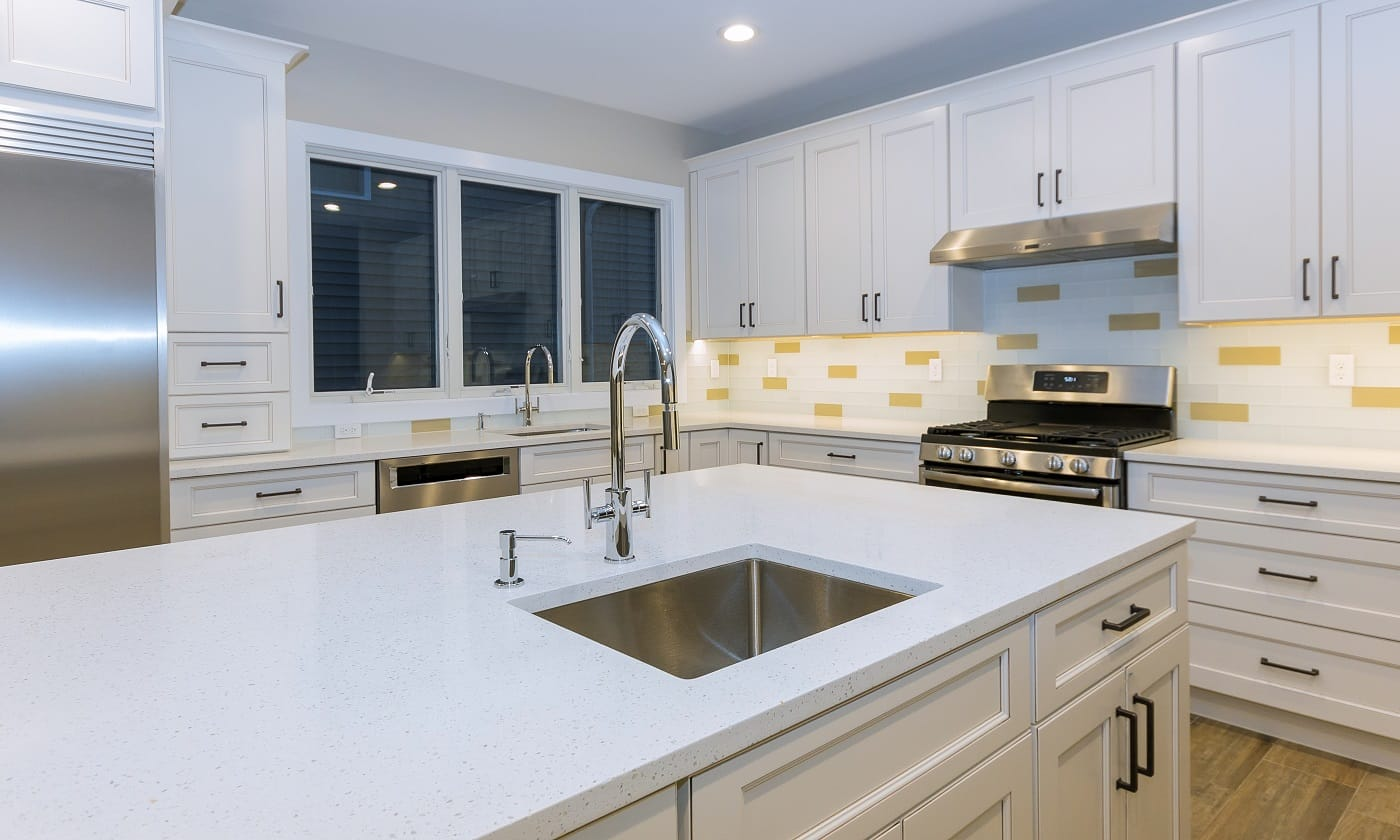 Assembling furniture kitchen with contemporary look of installation base cabinet countertops and sink