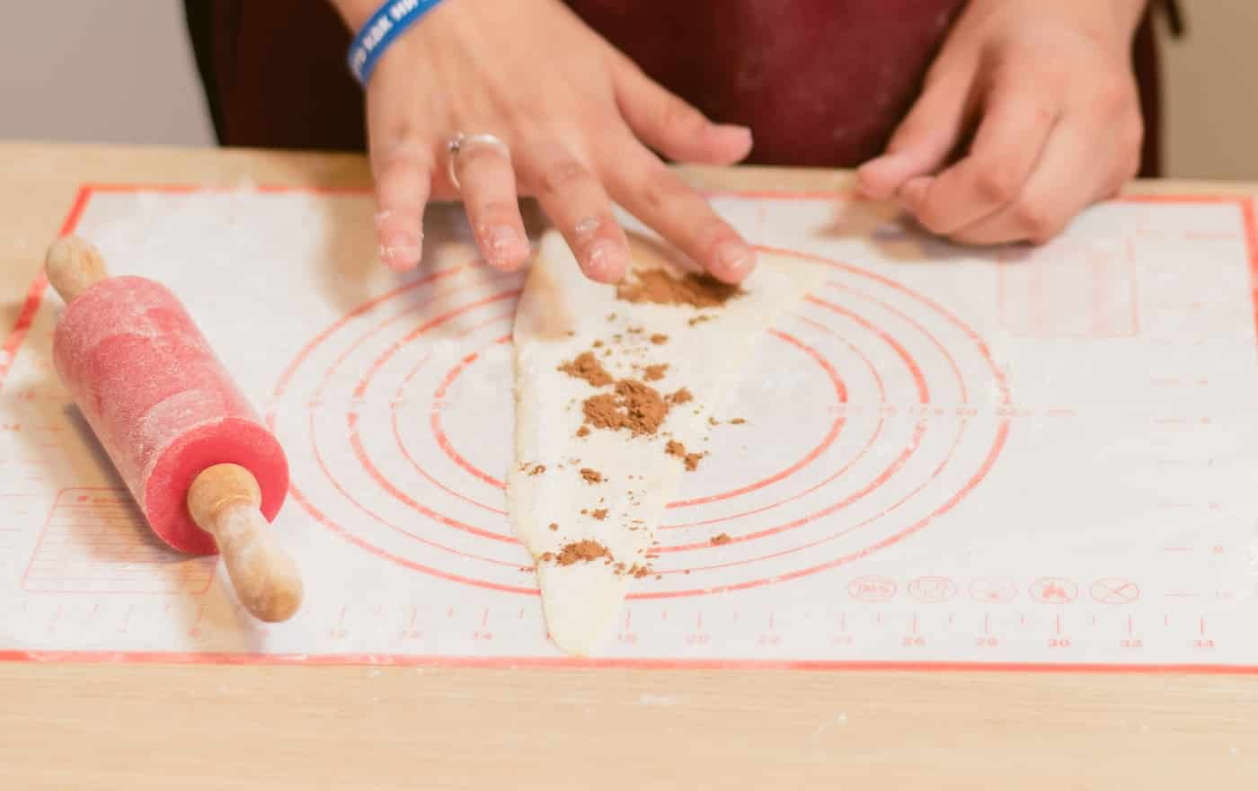 dough mat. Cooking Croissants with Cocoa