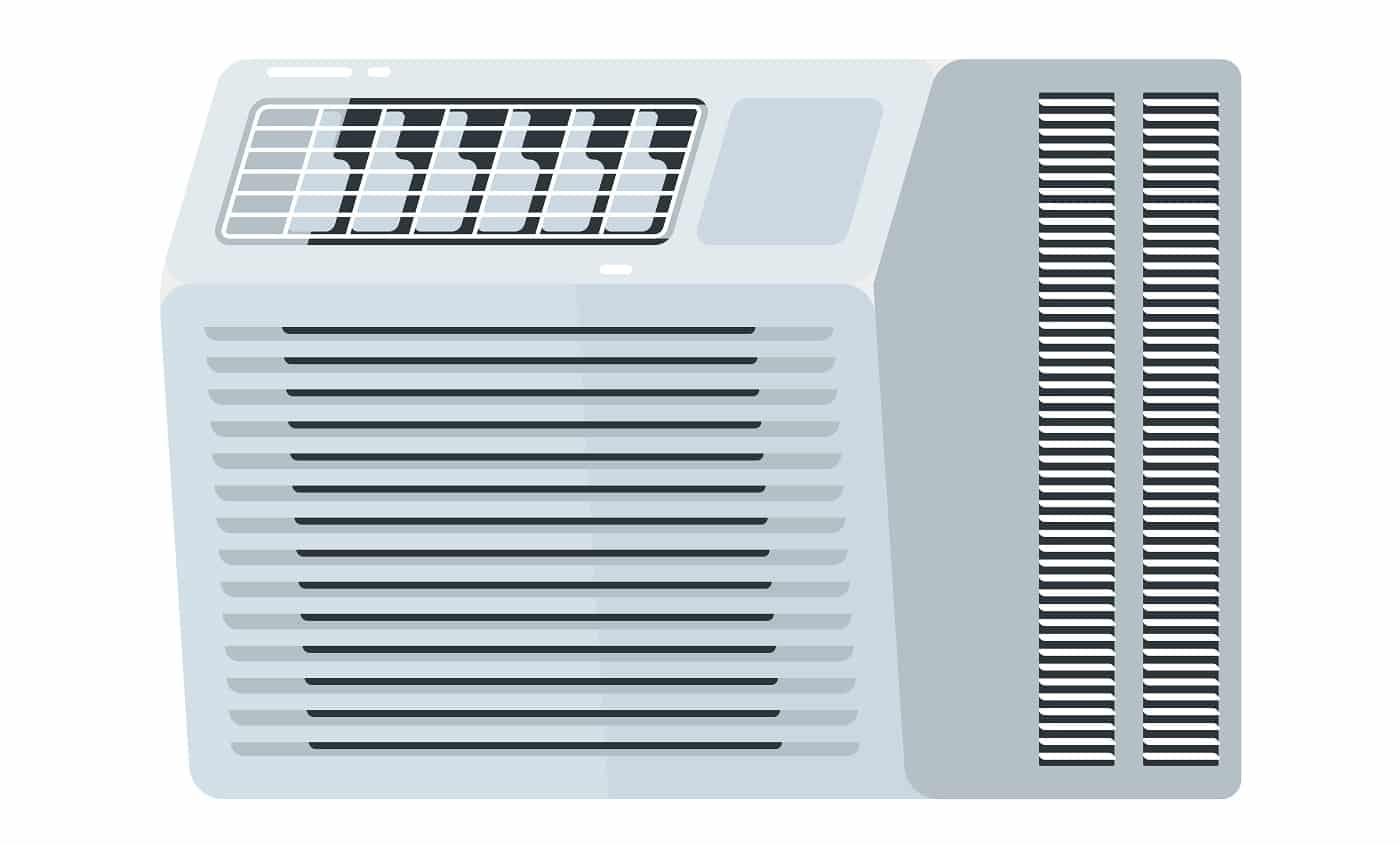 Window air conditioner electric equipment isolated on white