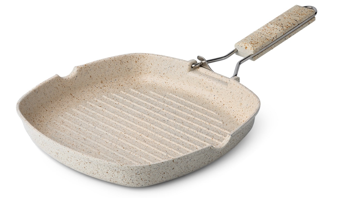 New ceramic non stick frying pan isolated on white background