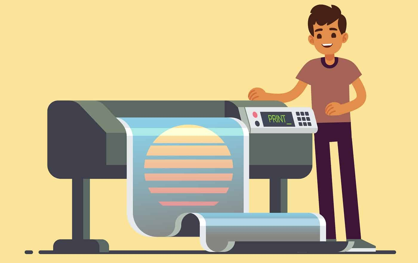 Man worker at plotter printing wide format large banner vector illustration. Printer and worker in office, printshop and polygraphy