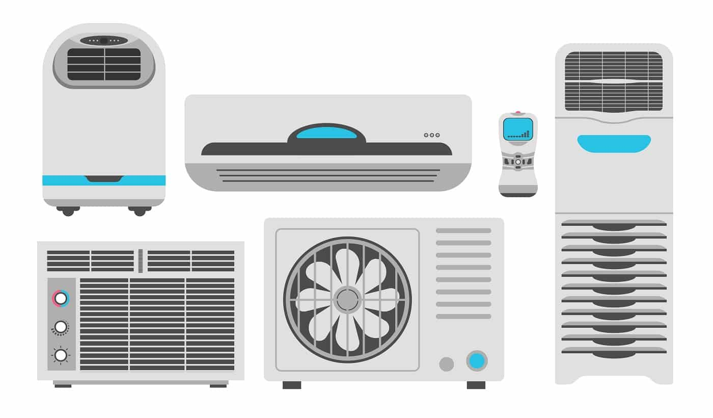 Air conditioners and fans, air purifiers and home climate humidifiers icons. Vector flat different home appliances for house microclimate or air conditioning and cooling or heating