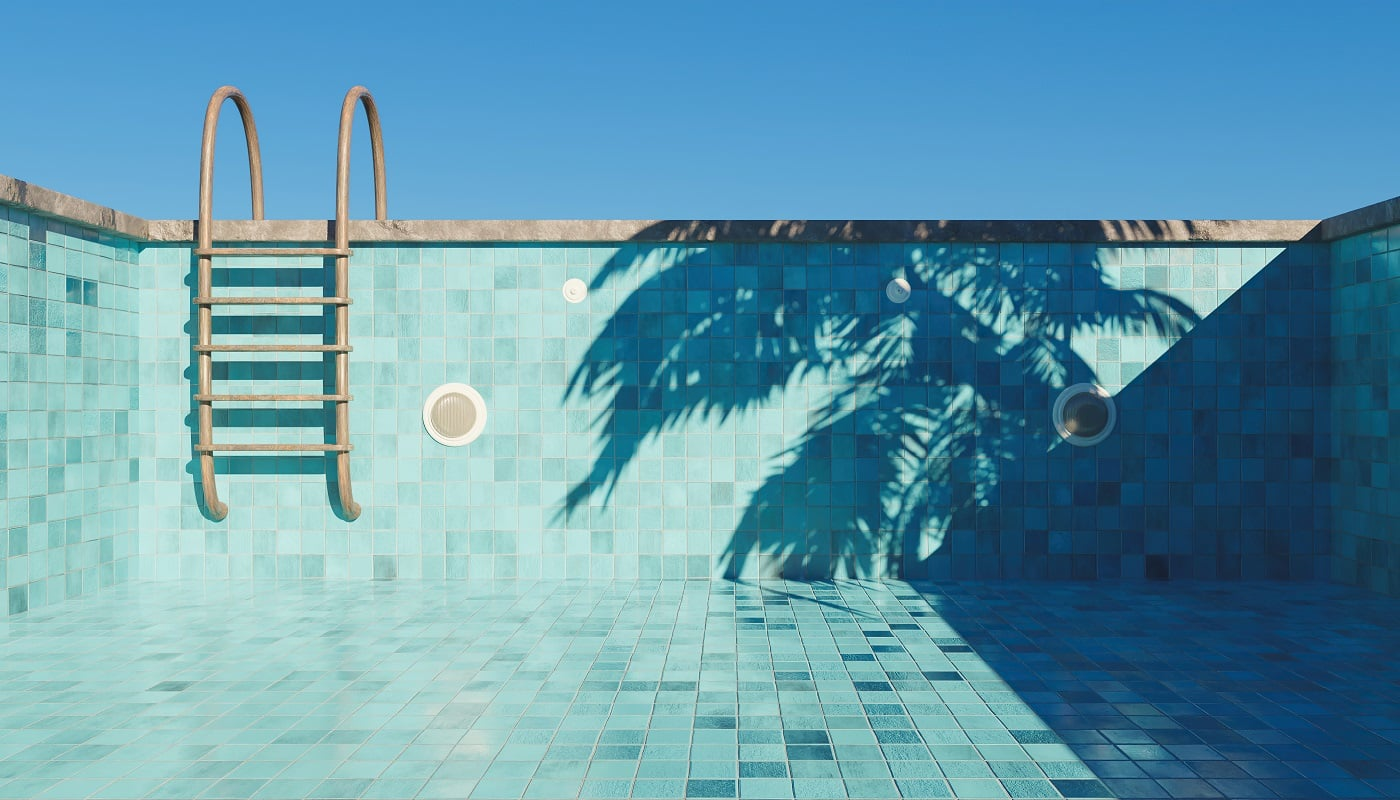 empty swimming pool with rusty stairs and tile floor. concept start of summer. 3d render