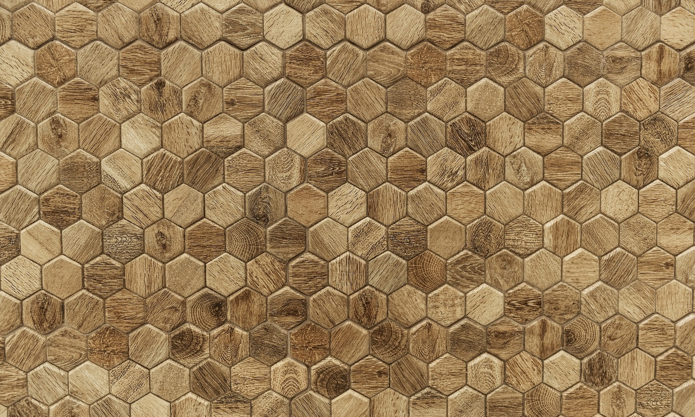 Hexagon patterned wood textured background