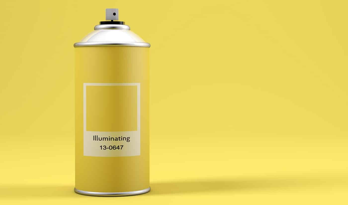Spray paint can with the color of the year 2021 called Illuminating Yellow