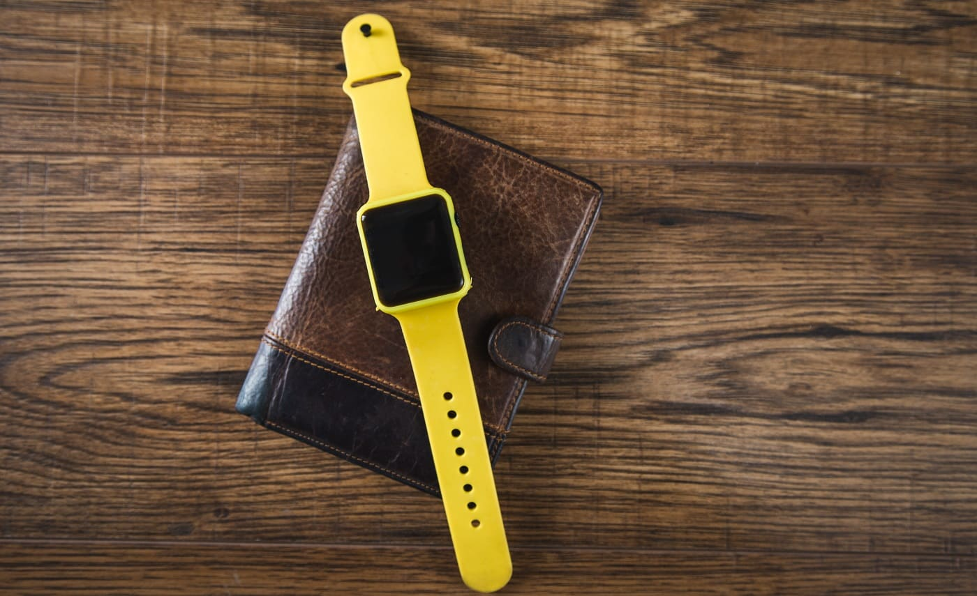smart watch on the wallet on the table
