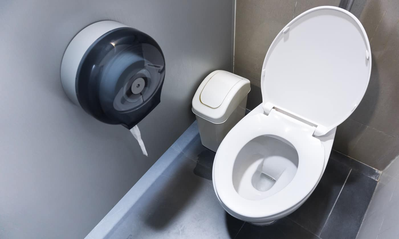 Toilet bowl in a modern bathroom with bins and toilet paper,flush toilet clean bathroom