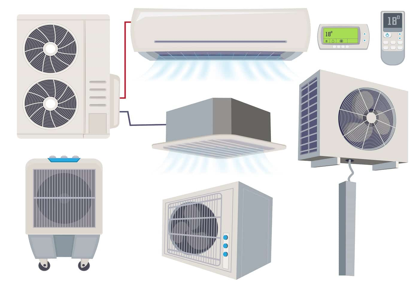 Blow filter. Air conditioner ventilation systems home wind tools vector cartoon illustration. Air system conditioning, airconditioner ventilation