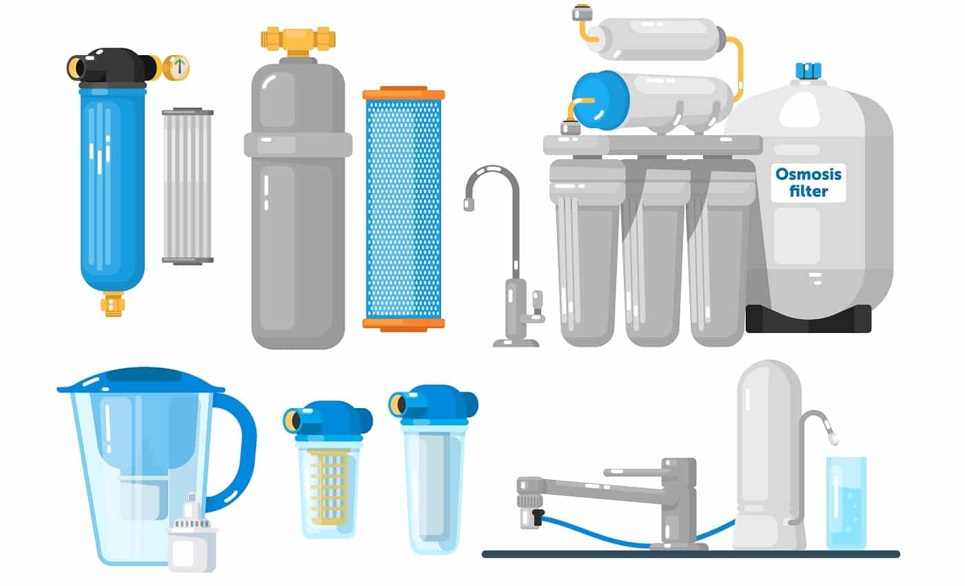 Water filters. Countertop, undersink, pitcher container, whole house, reverse osmosis water filters set. Natural fresh water purity. Mineral filtration or purification systems collection