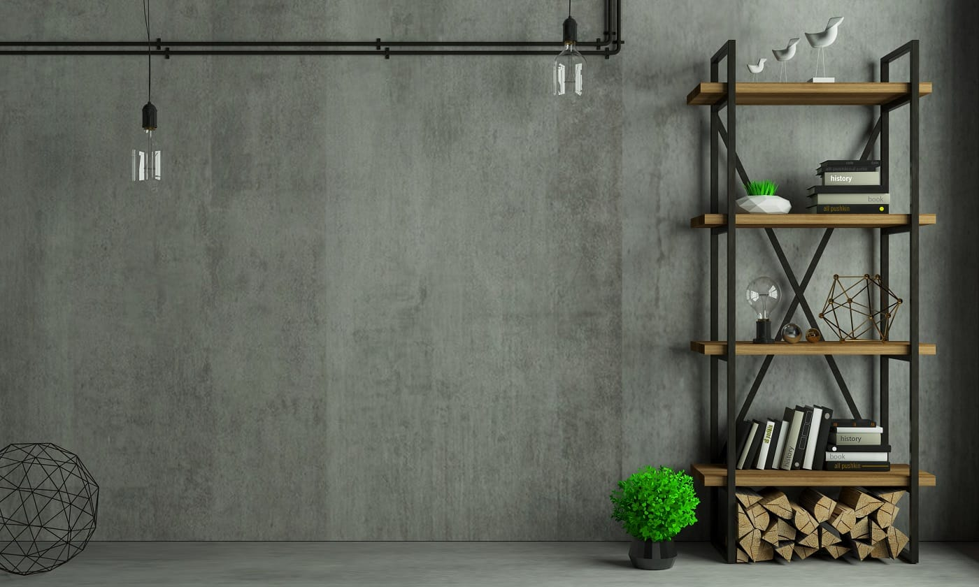3d illustration. Modern interior in loft style background old wall. Furniture and shelves. Bookcase. Studio for creativity