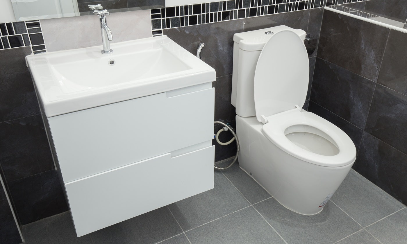 toilet and bathroom in modern style in house