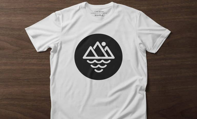 Front side of T-Shirt mockup template on wooden background