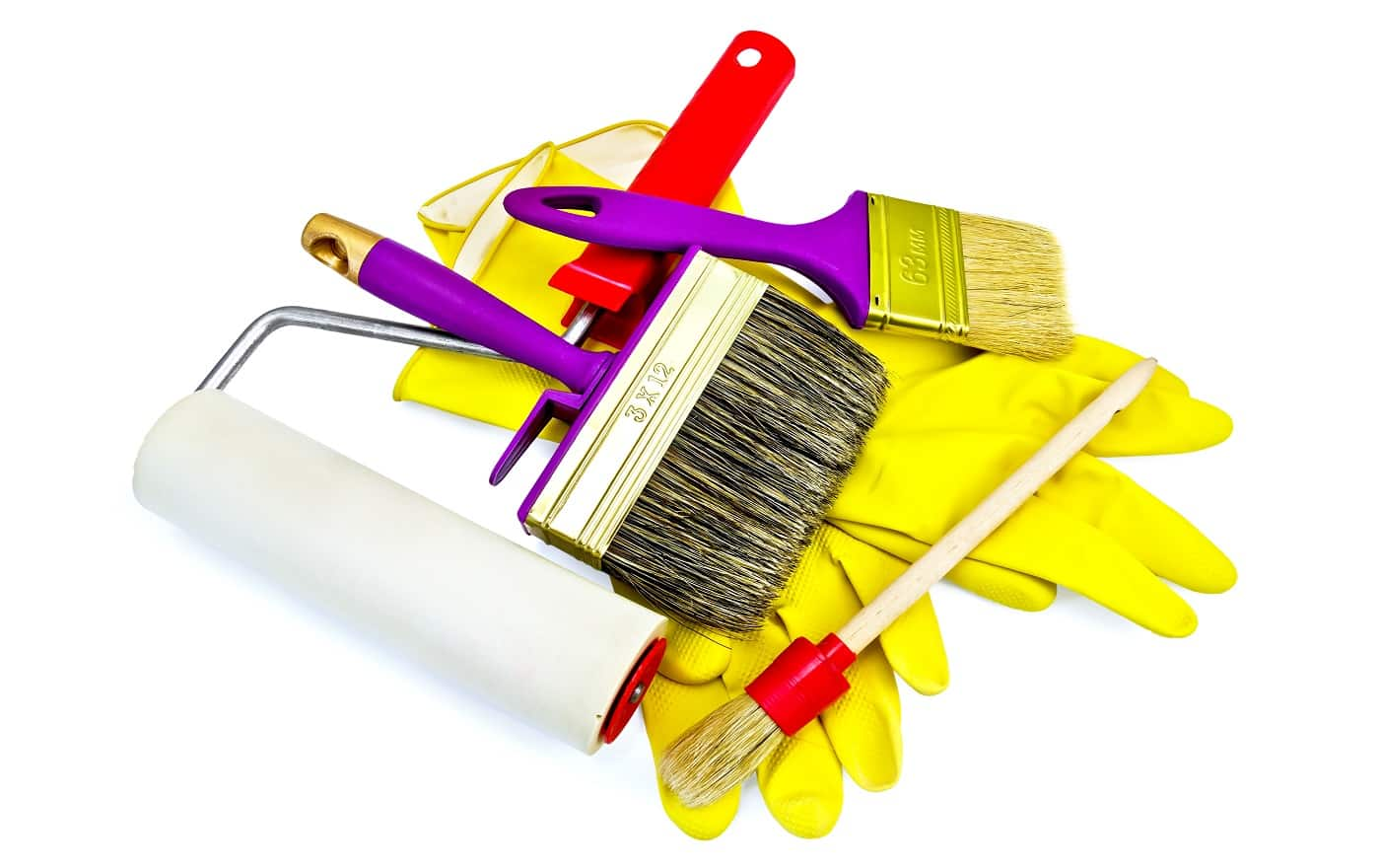 Best Latex Paint Remover Brushes of various sizes with yellow gloves and roller isolated on white background