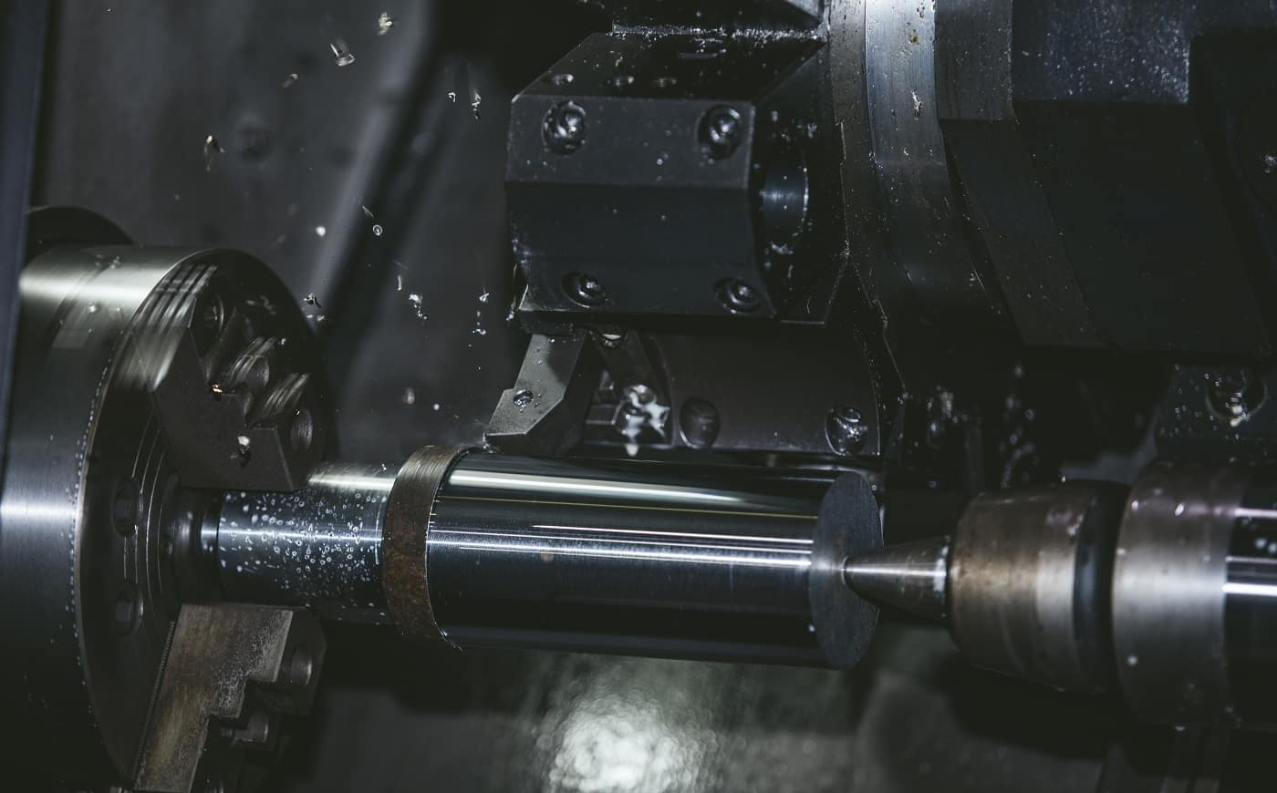 Lathe equipment in the factory manufacturing metal structures and machines