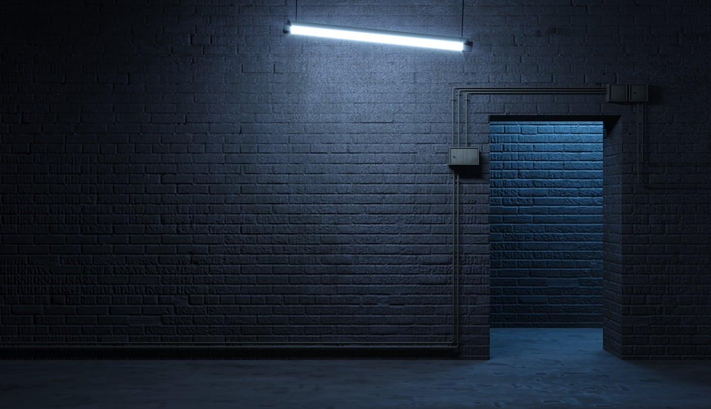3d illustration. Brick wall of a street facade at night. Entrance to the room. Dirty old gateway. Lamp. Background banner wallpaper