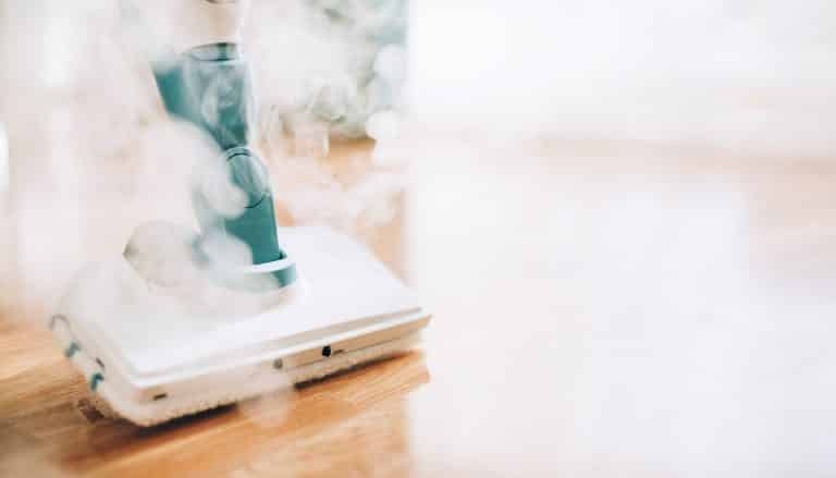Cleaning the floor with steam cleaner. Banner and copy space. Cleaning service concept.