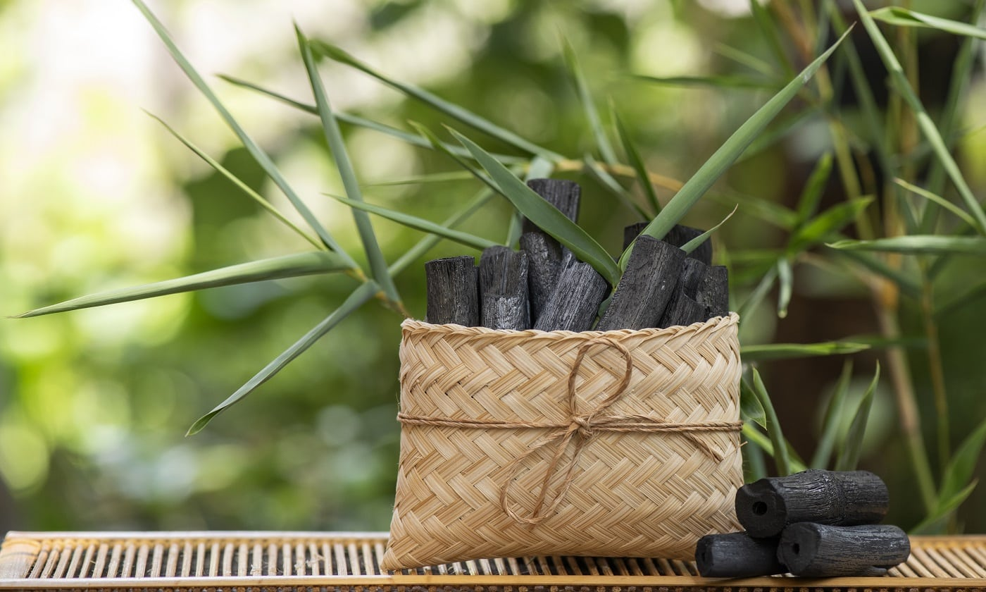 Bamboo Charcoal on nature background.
