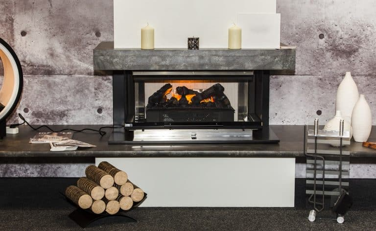 electric fireplace with artificial sparkling flame, decor for the interior