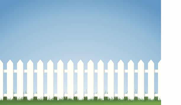 a vector illustration of a white picket fence, Image contains lots of space for copy. Eps version 8